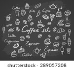 coffee set. charcoal hand... | Shutterstock .eps vector #289057208