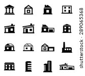 vector black buildings icon set.... | Shutterstock .eps vector #289065368