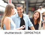 three friends talking and... | Shutterstock . vector #289067414