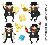 set of cartoon rabbis and... | Shutterstock .eps vector #289075970