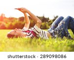 young woman relax with her... | Shutterstock . vector #289098086