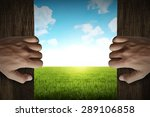 man hand open door into green... | Shutterstock . vector #289106858
