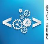coding symbol on blue... | Shutterstock .eps vector #289121009