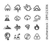 natural disaster icons set... | Shutterstock .eps vector #289121306
