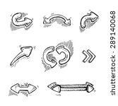 hand drawn arrows set isolate... | Shutterstock .eps vector #289140068