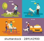 Stock vector family with pet concept flat icons set of walking in the park with a dog passing veterinary 289142900