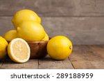 Group Of Fresh Lemon On An Old...