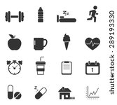 fitness and health icons vector ... | Shutterstock .eps vector #289193330
