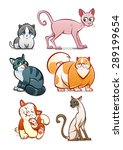 Stock vector collection of six cartoon different cats isolated 289199654