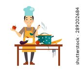 chef cooking food flat style... | Shutterstock .eps vector #289202684