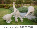 Stone Goose Family Sculpture I...
