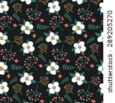 pattern with white flowers ... | Shutterstock .eps vector #289205270