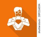Hero Superhero Flat Icon With...