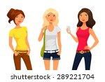 cute cartoon girls in summer... | Shutterstock .eps vector #289221704
