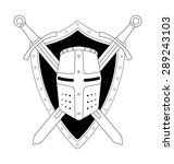two crossed swords shield and...   Shutterstock . vector #289243103