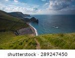 white cliffs in jurassic coast...