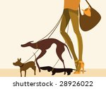 Stock vector lady walking her pet dogs 28926022
