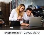 two restaurant owners working... | Shutterstock . vector #289273070