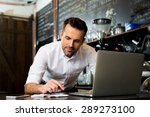 happy cafe manager counting... | Shutterstock . vector #289273100