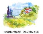watercolor rural house in green ...   Shutterstock .eps vector #289287518