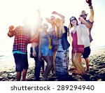teenagers friends beach party... | Shutterstock . vector #289294940