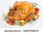 Roasted Turkey On Tray...