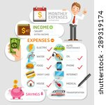 monthly expenses template.... | Shutterstock .eps vector #289319174