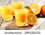 orange juice on table close up | Shutterstock . vector #289338233