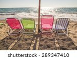 Beach Sun Beds Colorful  ...