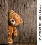 Cute Teddy Bear With Old Wood...