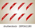red corner ribbon set  best... | Shutterstock .eps vector #289361180