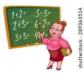 cartoon teacher stands near the ... | Shutterstock .eps vector #289363514