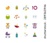 cute color baby icons set. toy... | Shutterstock . vector #289363946