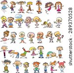 cute happy cartoon doodle kids | Shutterstock .eps vector #289370528