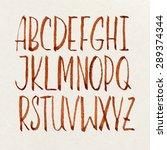 handwritten alphabet. alphabet... | Shutterstock .eps vector #289374344