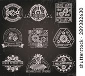a set of vintage emblems with... | Shutterstock .eps vector #289382630