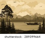 landscape with ship sailboat on ... | Shutterstock .eps vector #289399664