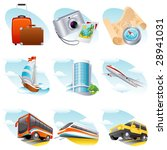Vector illustration - travel icon set - stock vector