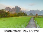 green rice fields and mountains ... | Shutterstock . vector #289470590