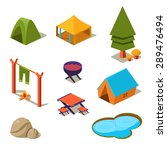 Isometric 3d Forest Camping...