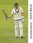 Small photo of CHESTER LE STREET, ENGLAND - August 10 2013: Shane Watson raises his bat to acknowledge the crowd after scoring 50 runs during day two of the Ashes 4th test match at The Emirates Riverside Stadium