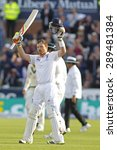 Small photo of CHESTER LE STREET, ENGLAND - August 11 2013: Ian Bell raises his bat to acknowledge the crowd after scoring a century during day three of the Investec Ashes 4th test match