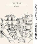 Palermo  Italy  Europe. Vector...