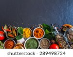 parsley  chili  turmeric ... | Shutterstock . vector #289498724