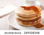 pancakes with berries and maple ... | Shutterstock . vector #289508348