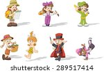 group of cartoon girls wearing... | Shutterstock .eps vector #289517414