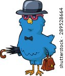 bird with a hat and a valise... | Shutterstock .eps vector #289528664