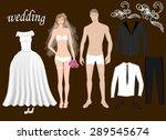 dress up paper dolls bride and...   Shutterstock .eps vector #289545674