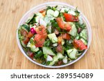 dieting healthy salad on rustic ... | Shutterstock . vector #289554089