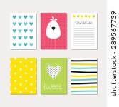 set of cute creative cards with ... | Shutterstock .eps vector #289567739